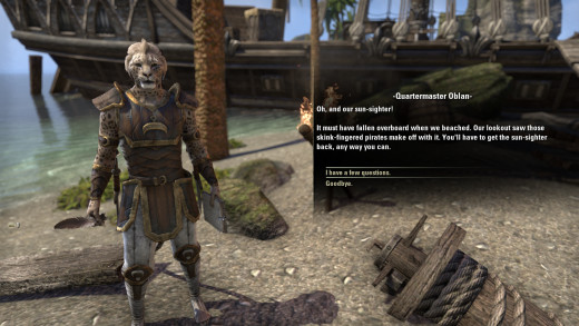 Speaking to Quartermaster Oblan, a sailor forced ashore during The Elder Scrolls Online's Cast Adrift quest.
