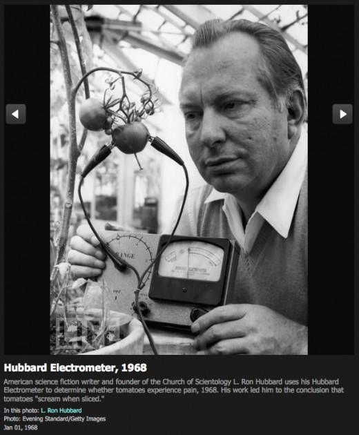 L. Ron Hubbard using his Hubbard Electrometer