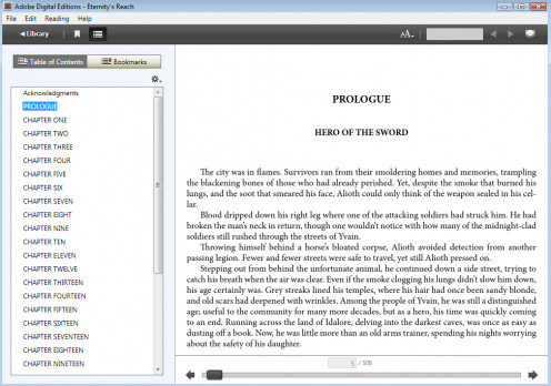 A view of Adobe Digital Editions. It's a great option for testing your epub if you don't have an ereader.