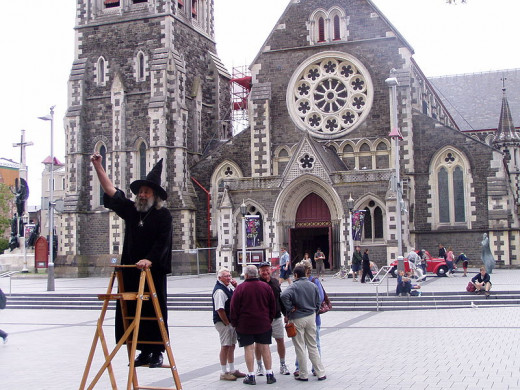 The Wizard of Christchurch, a well-known local personality with decades of history. Photo by Helmut Pfau