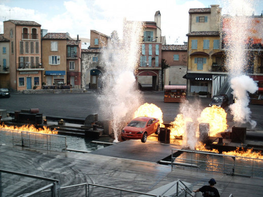 Look at the entrance to the stunt show for some big bathrooms.