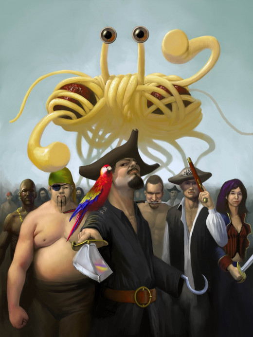 The Flying Spaghetti Monster (FSM) hovering above a group of pirates. Both the FSM & Pirates are central themes among Pastafarians, members of the The Church of the Flying Spaghetti Monster.