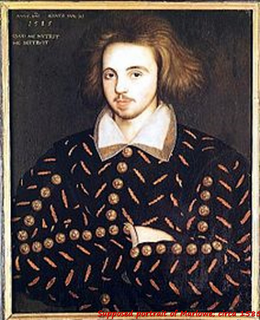 Supposed portrait of Marlowe, circa 1585.
