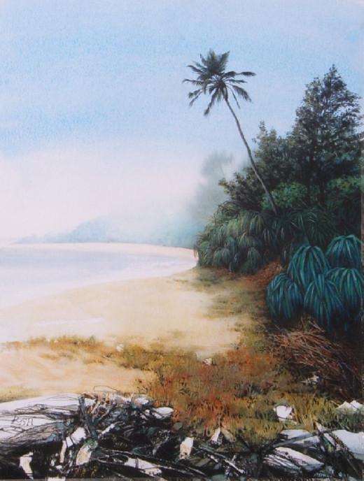 """""""Cavelossim Beach"""" watercolour by Helen Lush"""