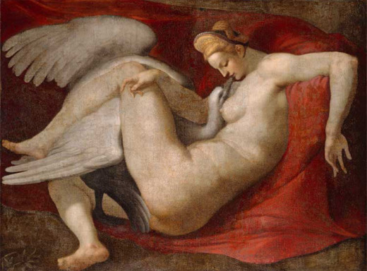 The Greek myth states that Zeus seduced Leda by turning into a swan which made Leda have eggs.