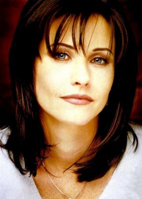 A promotional photo of actress Courteney Cox, who starred as Monica Geller on the NBC sitcom Friends.
