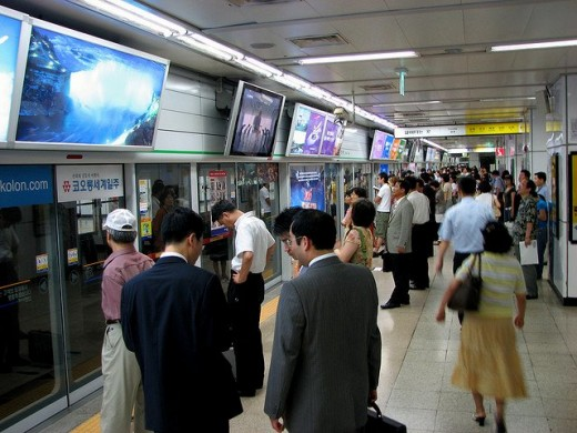 Display TV screens at one of Seoul's subway station