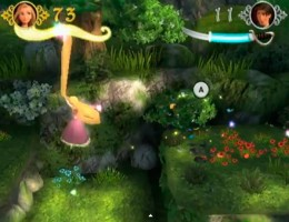 Rapunzel swings with her hair.