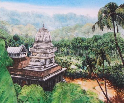 """Stone Temple, Goa"" watercolour by Helen Lush"
