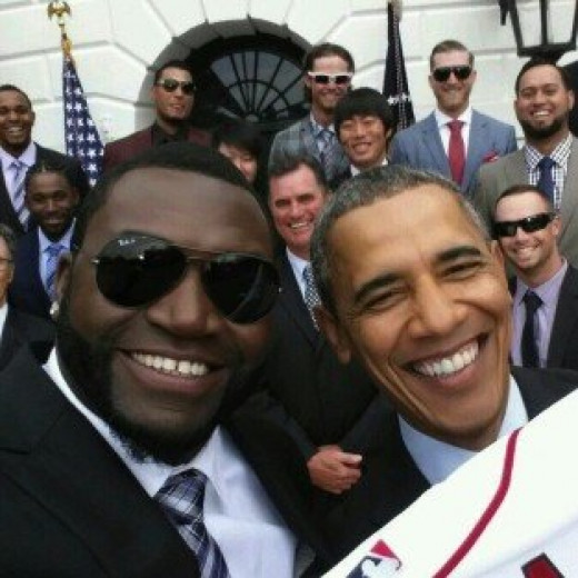 """Not even the President can escape the fad of taking a """"Selfie"""" with a celebrity."""