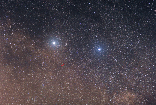 Alpha Centauri, Beta Centauri and Proxima Centauri (circled)