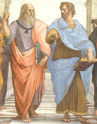 Thsi painting by Dante illustrates the elder Plato apparently imparting knowledge to his student Aristotle.