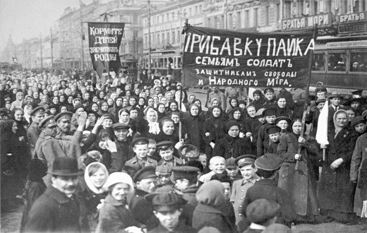 The People protesting n the streets against the Tsar.
