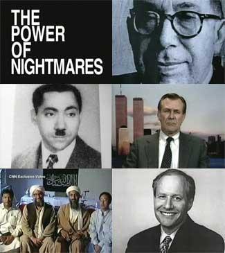 "(from top right) Leo Strauss, Sayed Kotb, Donald Rumsfeld, (two in center) Ayman al-Zawahiri and Osama bin Laden, William ""Bill"" Kristol."