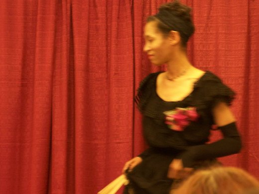 Victoria Moore in a vintage Edwardian dress at vintage fashion show.