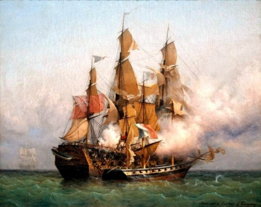 A depitction of an actual privateer attack on a larger ship in the year 1800, by Ambroise Louis Garneray