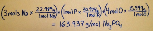 How to calculate the molar mass of Na3PO4.