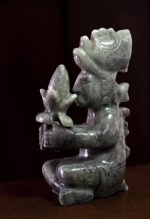 Jade carving of the Mayan Maiz God