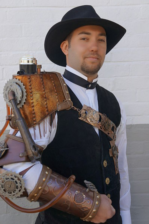 Man with steam punk style artificial right arm by Geraldshields11