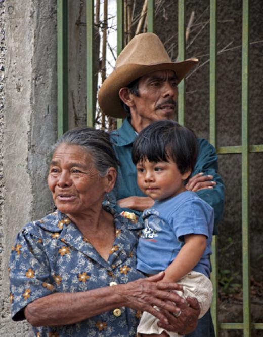 Three generations of a campesino family in Santa Ana, Francisto Morazán
