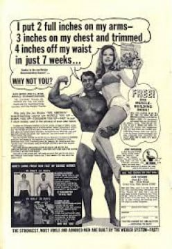 Charles Atlas, bodybuilding icon, appeared on ads on the back of comic books to help the weaker kids of America.