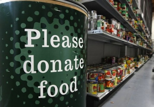 "At the supermarket we can drop an extra can or packet of food for the ""food bank"" to help those in need."