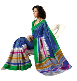 Deep blue Bhagalpuri Silk Saree