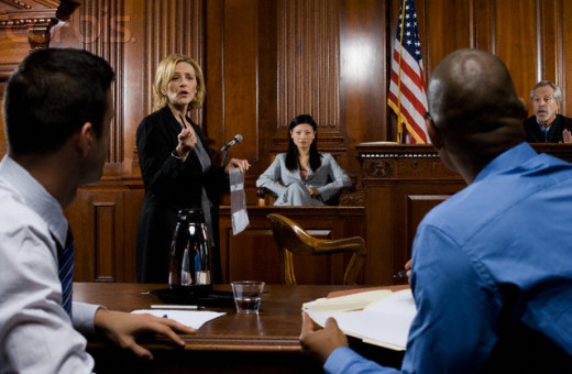A lawyer presents evidence to the jury.