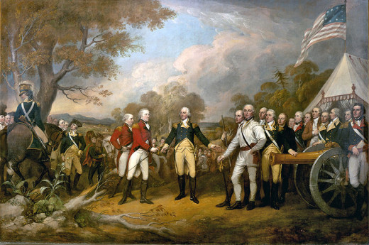 The impressionist painting of the Surrender of Burgoyne.