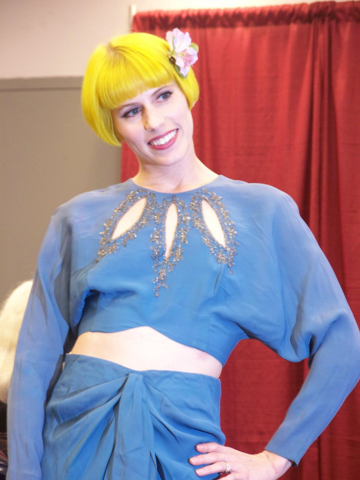 Anna Marie von Furley in a blue outfit