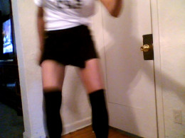 Victoria Moore practicing tap at home.