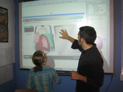 Teachers use IT such as interactive smart-boards for classroom teaching to tudents.