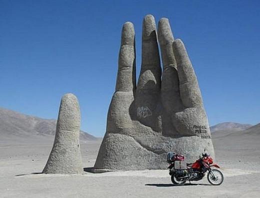A cool sculpture in the desert.