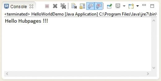 Hello World program in Java.