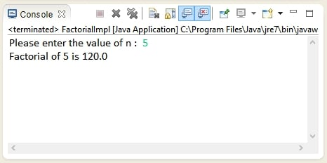Output of Java program to calculate factorial of a number.