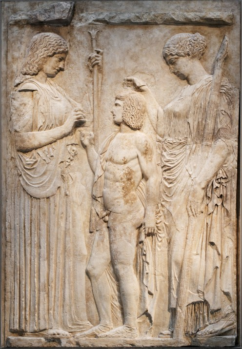 Triptolemus with Demeter and Persephone of the Eleusinian Mysteries