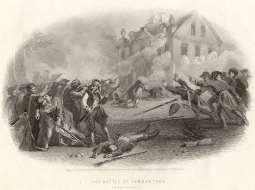 American forces lay siege to the Chew house during the Battle of Germantown.