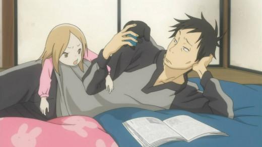 Little Rin and Daikichi talking about her stuffed rabbit.