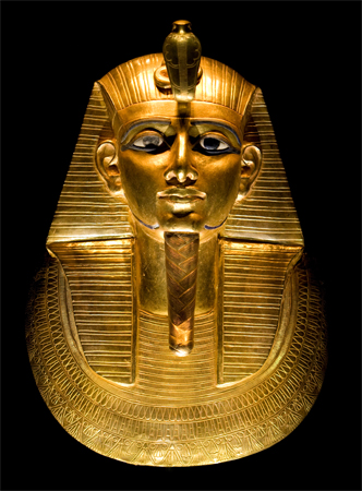One of the authors in our list was a PhD. Egyptologist. The setting  of her mysteries was quite naturally Egypt. The golden mask in this illustration  is that  of the Pharaoh Psusennes I