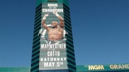 Floyd Mayweather who fights all his bouts in Las Vegas, has his face pasted on one side of the MGM Grand.