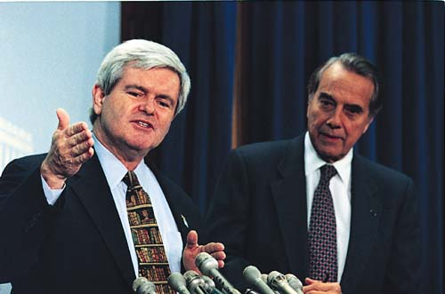 Speaker of the House Newt Gingrich and U.S. Senate Majority Leader Bob Dole, the 1996 Republican Party standard bearer.