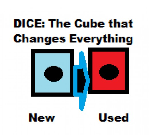 The dice start off blue until they are rolled in the game. Then, they are red.  I do not know if the picture of the manhwa is alright to use, so I made my own.