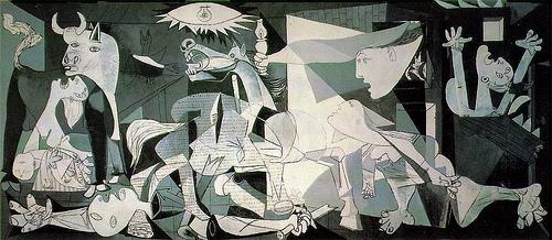 """Pablo Picasso, """"Guernica,"""" 1937, Oil on canvas, 137.4 in × 305.5 in, Museo Nacional Centro de Arte Reina Sofía."""