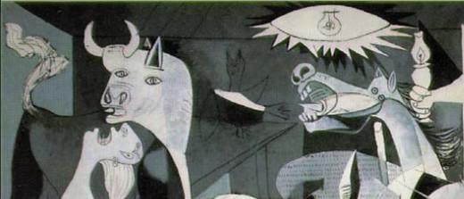 """Guernica"" detail: bull, representing fascist forces; horse, representing rebublican forces; woman, representing civilian population."