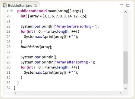 Bubble sort test code in Java.