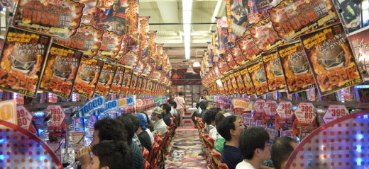 A common site in a Pachinko parlor