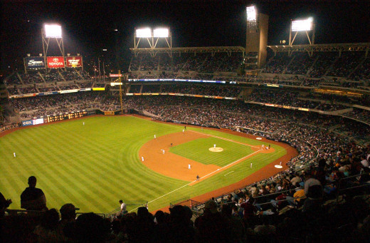 A night baseball game.