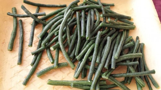 Prepared long beans for sinigang, a Filipino soured soup.