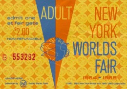 Original entrance ticket for the New York World's Fair.  $2 for adults and $1 for children.
