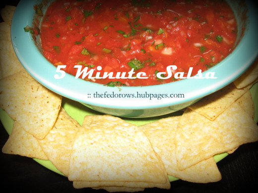 Homemade salsa is a perfect addition to any Cinco De Mayo Celebration!  Ours is quick and easy, from start to finish in just 5 minutes.  Yum!